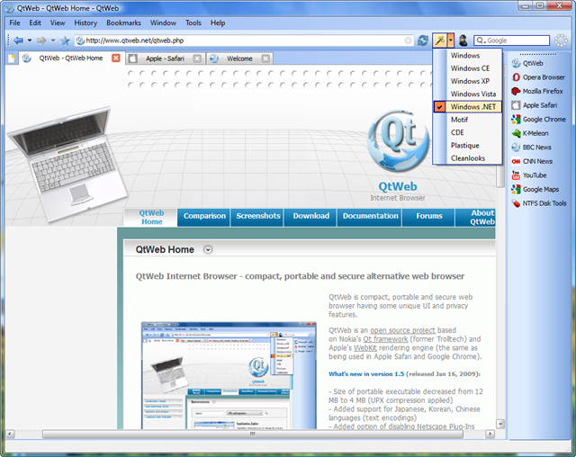 Click to view QtWeb Internet Browser 3.7.3 screenshot